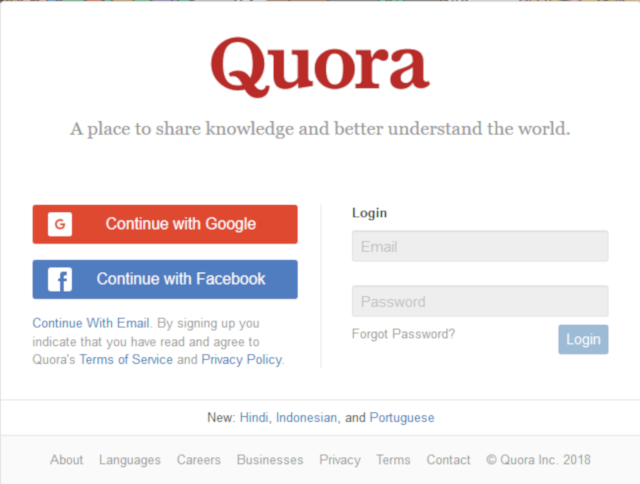 Quora Review - Registration and login