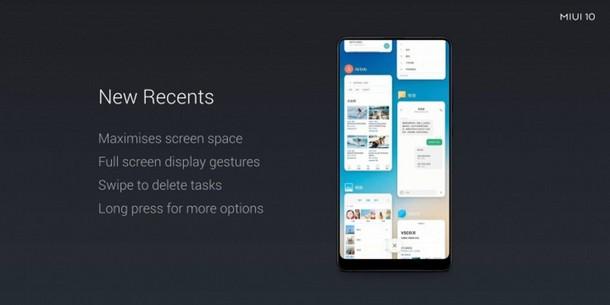MIUI 10 New Recents Apps