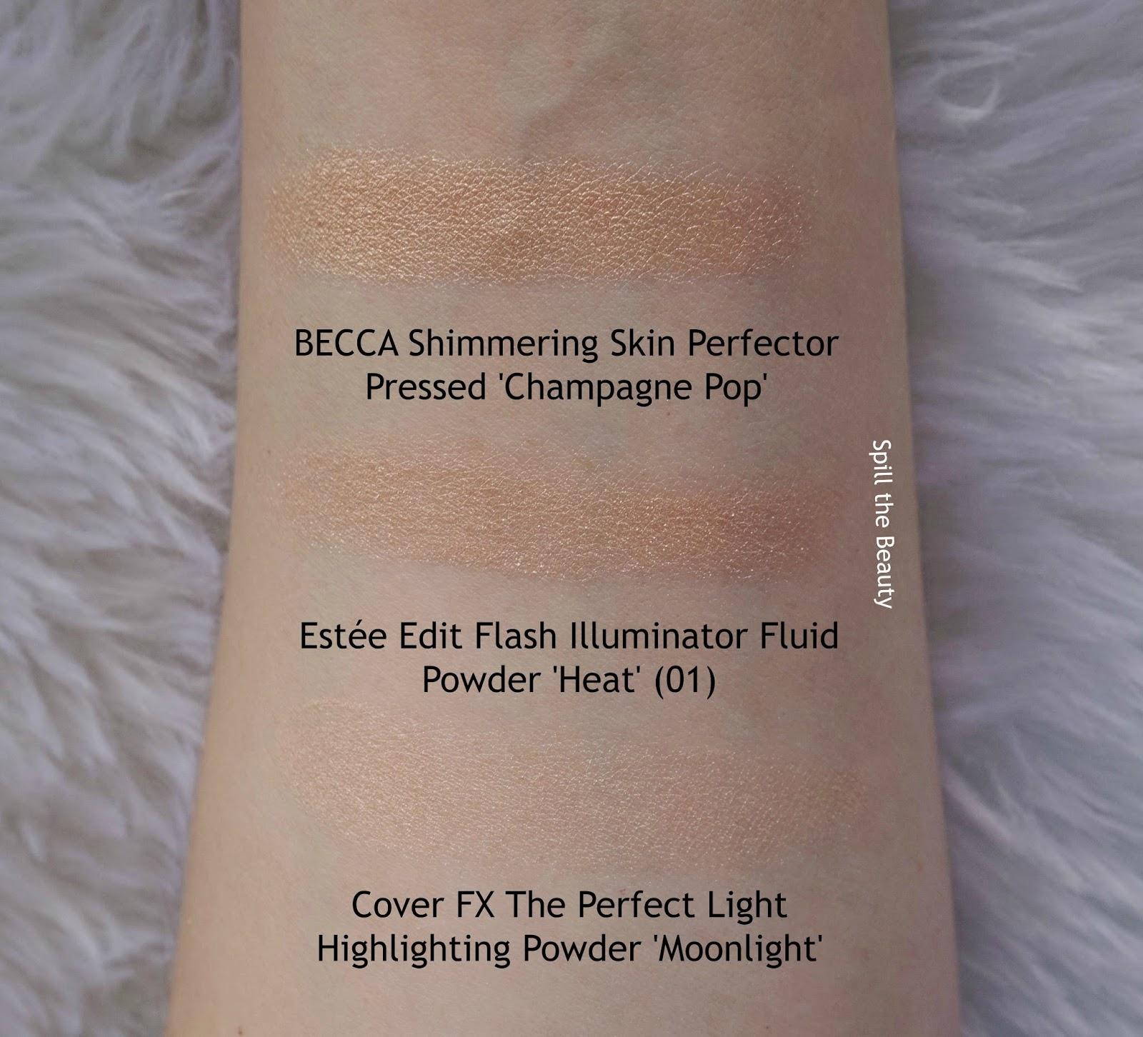 estee lauder Estée Edit Flash Illuminator Fluid Powder Heat 01 review comparison swatches becca champgne pop cover fx moonlight