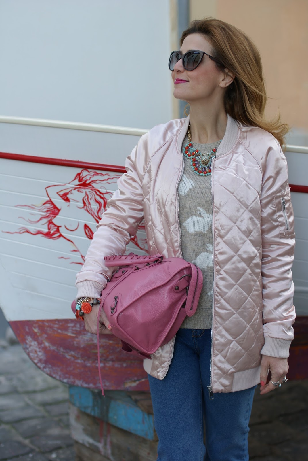 Pink satin quilted bomber jacket, Pink Balenciaga bag on Fashion and Cookies fashion blog, fashion blogger style