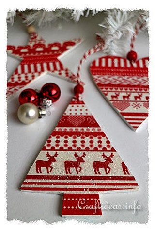 Scandinavian Style Wooden Glitter Ornaments