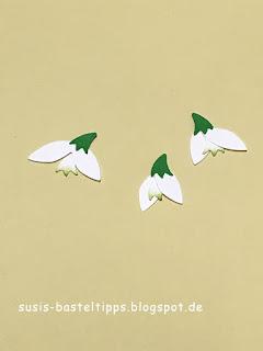 Schneeglöckchen Punch Art Oster Karte mit Elementstanze Fuchs DIY Osterkarte von Stampin' Up! Demonstratorin Karton flüsterweiss und apfelgrün geprägt mit Embossing praegeform Gartenspalier und gestanzt mit bestickte Rechtecke für Bigshot
