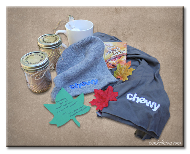 Spiced drink mix, mug, toboggan and scarf from Chewy.com