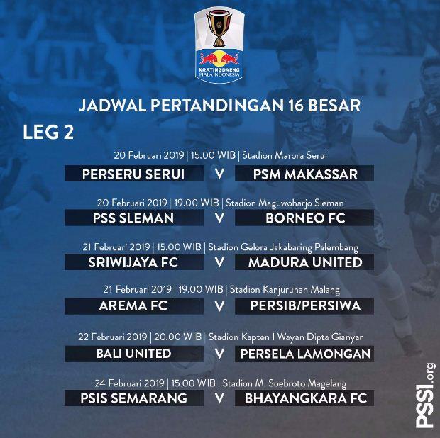 jadwal babak 16 besar piala indonesia