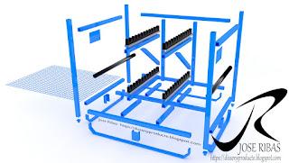 Renderización Rack para el transporte de piezas. Explosión de piezas.