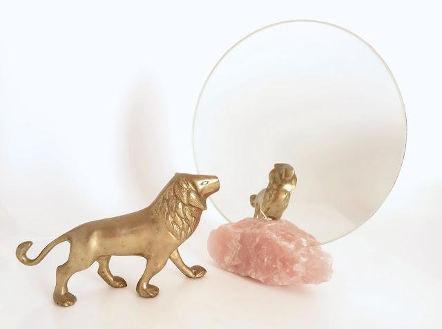 Vanity mirror (round) with Rose quartz base made by Keri Muller (simpleintrigue.com)