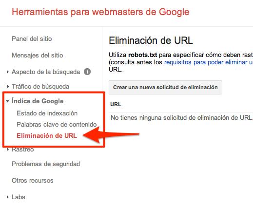 Eliminación de URL Google Webmaster Tools