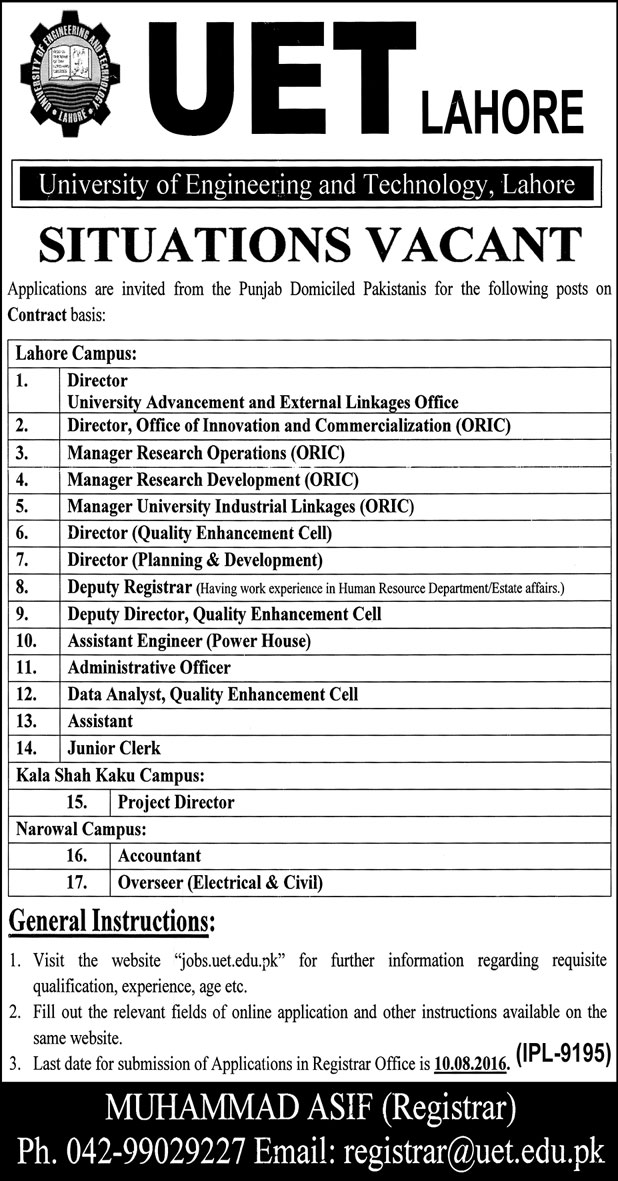 Admin Jobs in University of Engineering and Technology Jobs in Lahore UET Jobs 2016