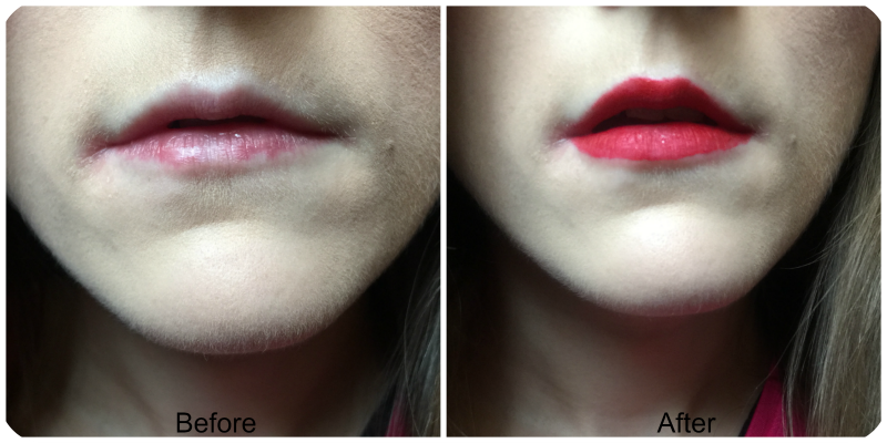 before and after urban decay liquid lipstick in 714