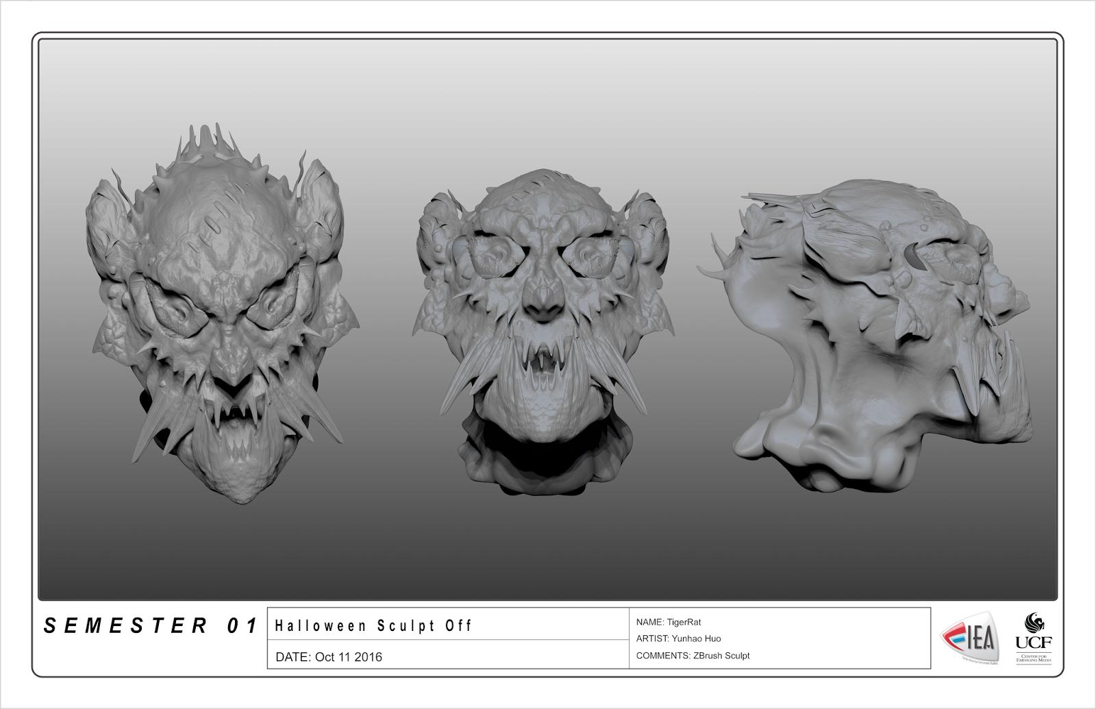 3D Halloween ZBrush Freestyle Sculpt | YunhaoHuo's Art Blog