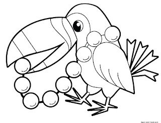 Cute Baby Bird With Pearl Coloring Sheet