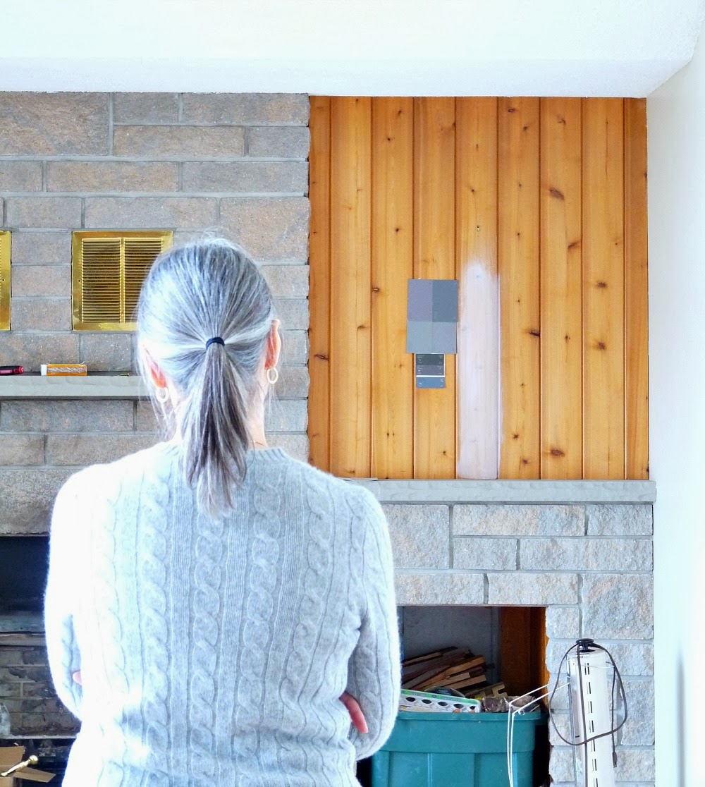 Picking a shade of grey for the fireplace