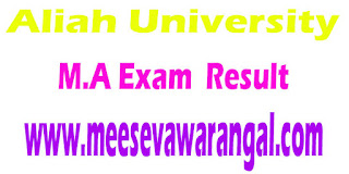 Aliah University M.A In Theology (M.M) Part I/II 2016 Exam Results