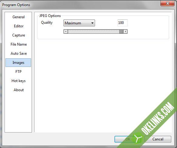 Mengatur kualitas gambar screenshot