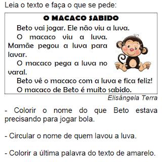 Texto O MACACO SABIDO, de Elisângela Terra