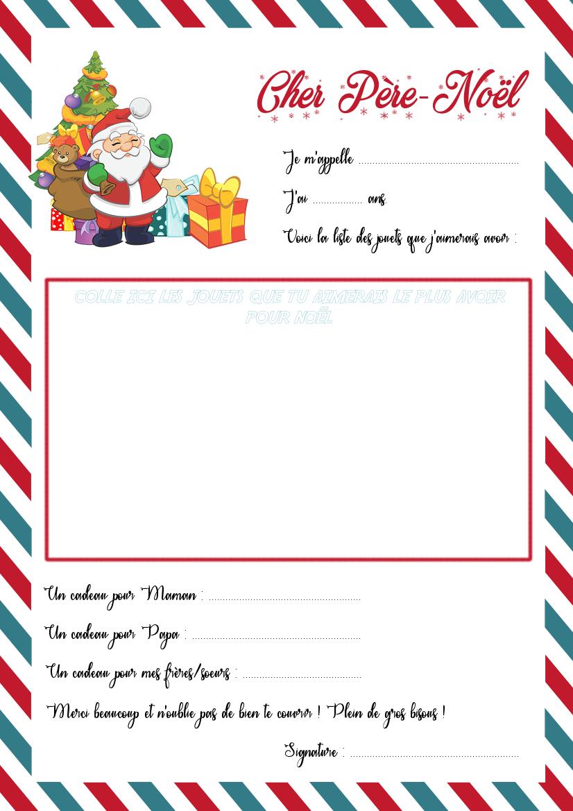 Belle La lettre au Père-Noël et son enveloppe à imprimer - La Quiche et PJ-97