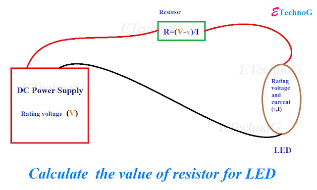 How to calculate the value of the resistor for LED when connecting with Power Supply?