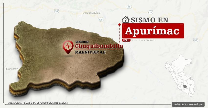 Temblor en Apurímac de Magnitud 4.2 (Hoy Lunes 24 Agosto 2020) Sismo - Epicentro - Chuquibambilla - Grau - IGP - www.igp.gob.pe