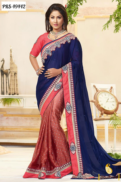 Akshra Hina Khan latest fashion blue georgette designer saree online shopping with discount at pavitraa.in