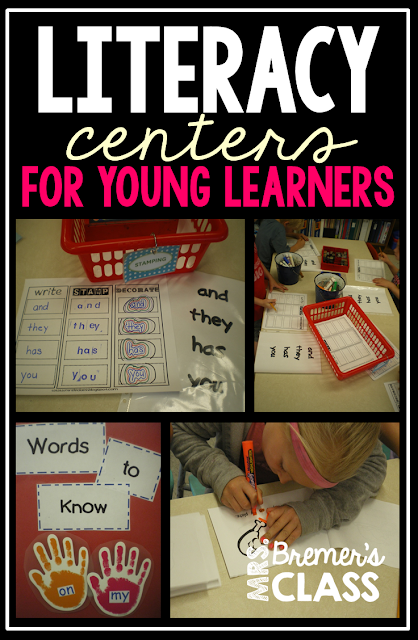 Kindergarten Literacy Centers for reading, writing, and word work.