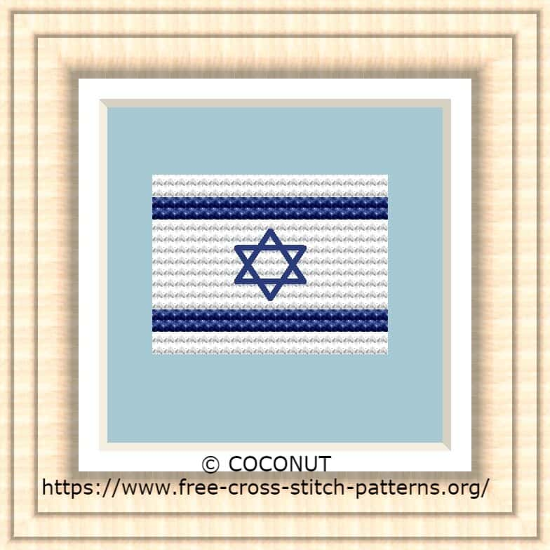 NATIONAL FLAG OF ISRAEL CROSS STITCH CHART