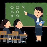 中学・高校の授業のイラスト(女性教師)