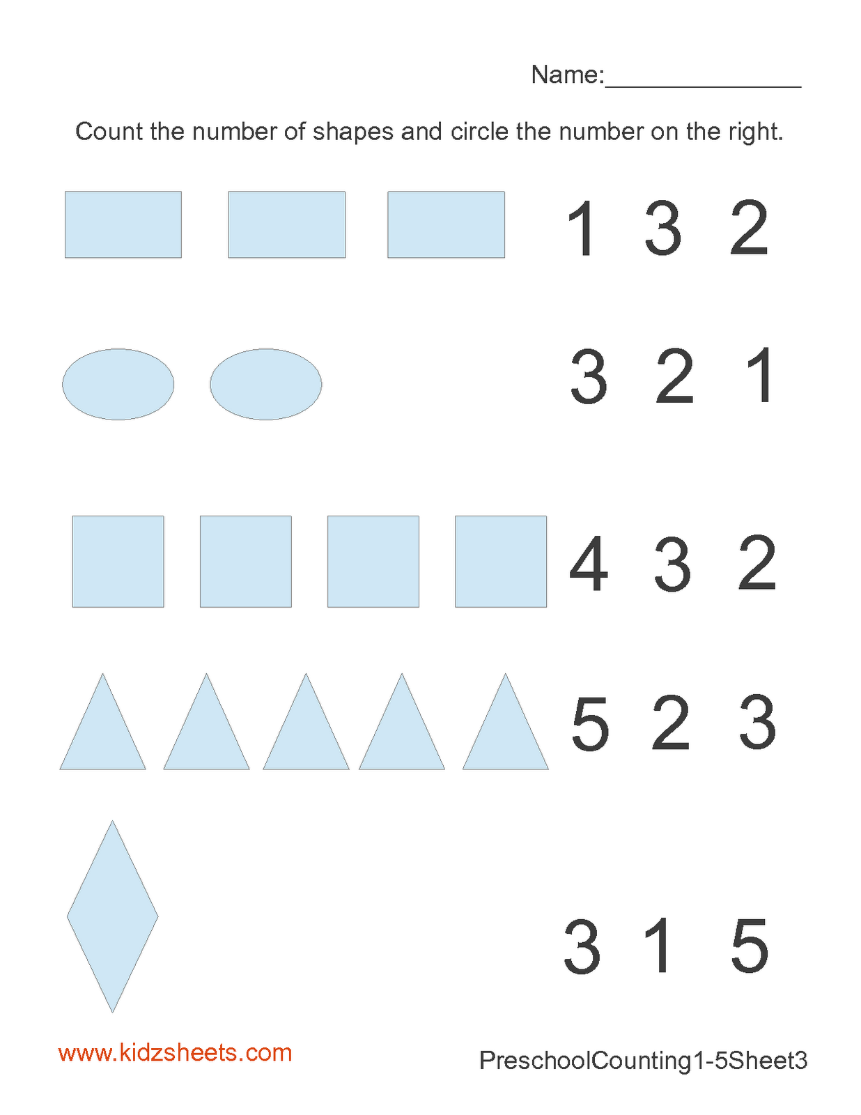 Kidz Worksheets: Preschool Counting Numbers Worksheet3 [ 1600 x 1236 Pixel ]