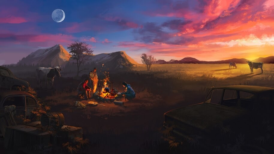 Sunset, Camping, Bonfire, Landscape, Scenery, Illustration, Digital Art, 4K, #4.2016