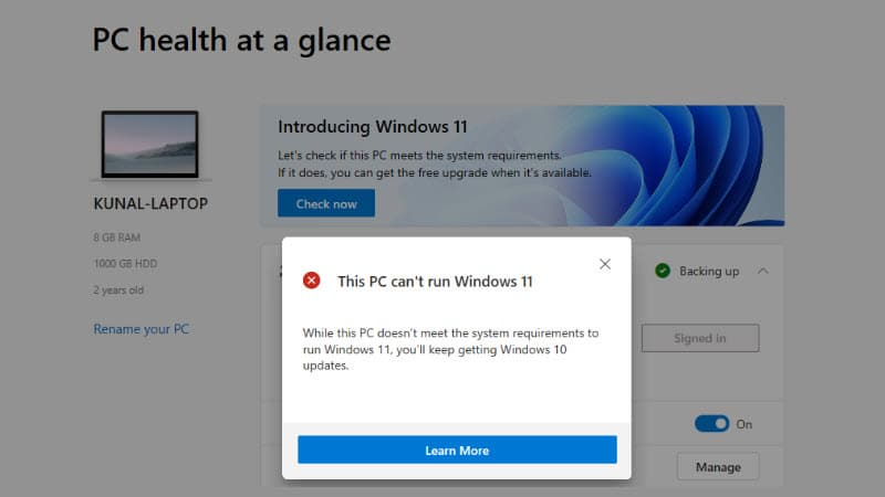 PC Health Check app incorrectly reports 'This PC can't run Windows 11' error; a fix coming soon