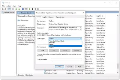 إيقاف الإبلاغ  التلقائى عن الأخطاء  في Windows 10