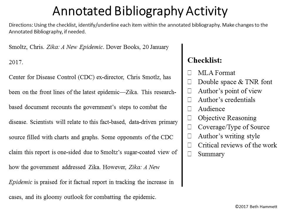 Help writing a annotated bibliography