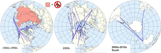 Mapa globalista indicando as rotas polares