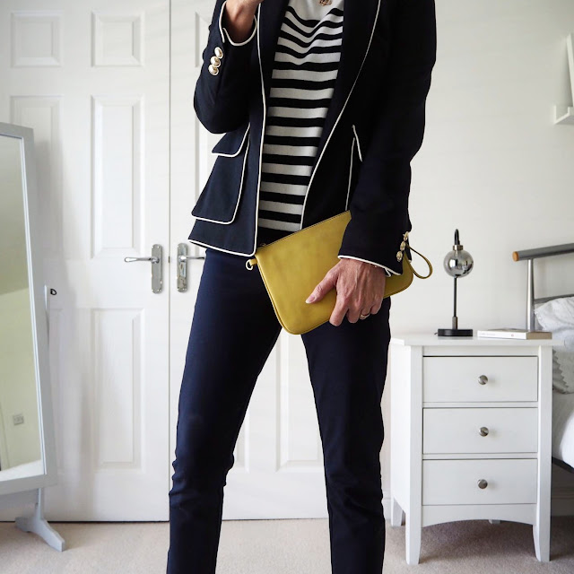navy blazer with breton top