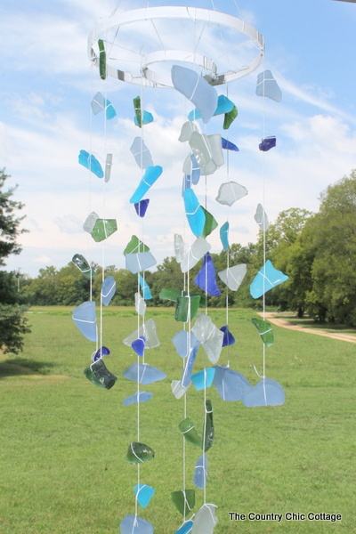 String your sea glass collection together for some great wind chimes.  A wonderful addition to your outdoor decor.