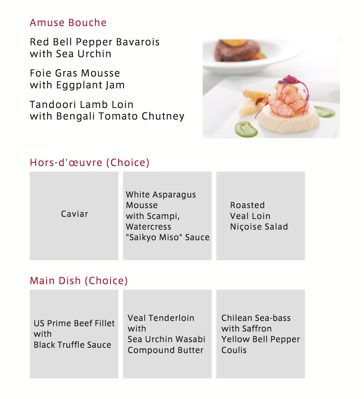 JAL Spring 2015 First Class menu from New York, Chicago and Los Angeles