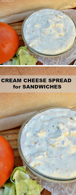 Use this Cream Cheese Spread to add a delicious pin on an otherwise plain sandwich (also great on wraps & bagels !)