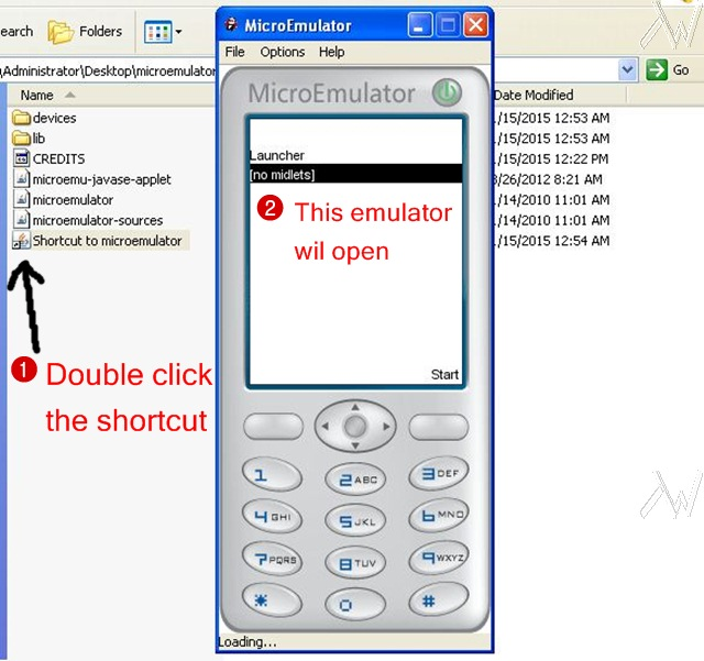 run the emulator by clicking shortcut