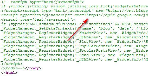 Blogger widget code in footer