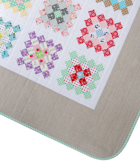 Granny Square quilt - linen border, rounded corners, bias binding