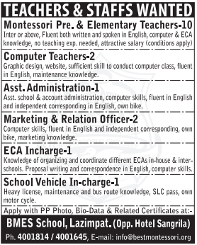 Jobs Vacancy For Teachers & Staffs , BMES School, Lazimpat