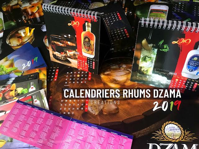 conception création de calendriers pour les rhums Dzama 2019