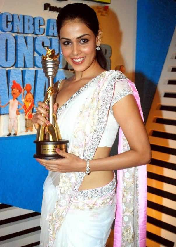 Bollywood Beauty Genelia Dsouza Hip Photos In White Saree At Awards Function