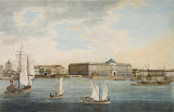 Embankment near the Academy of Arts, Vasilyevsky Island. View from the Neva River (Watercolour & Aquatint, 1789 - Architecture, Landscape) by Thomas Malton