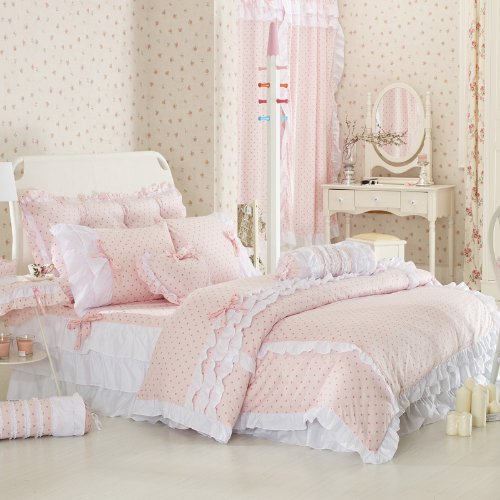 Teenage Girl Room White And Gold Polka Dot Wallpaper Pale Pink Comforter Amp Bedding Sets A Soft Place To Fall