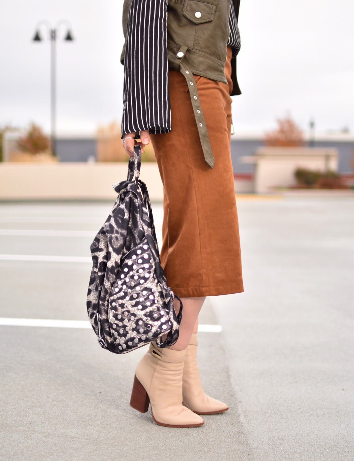 Outfit inspiration c/o Monika Faulkner - striped blouse, faux-suede culottes, moto vest, ivory booties, leopard-patterned backpack