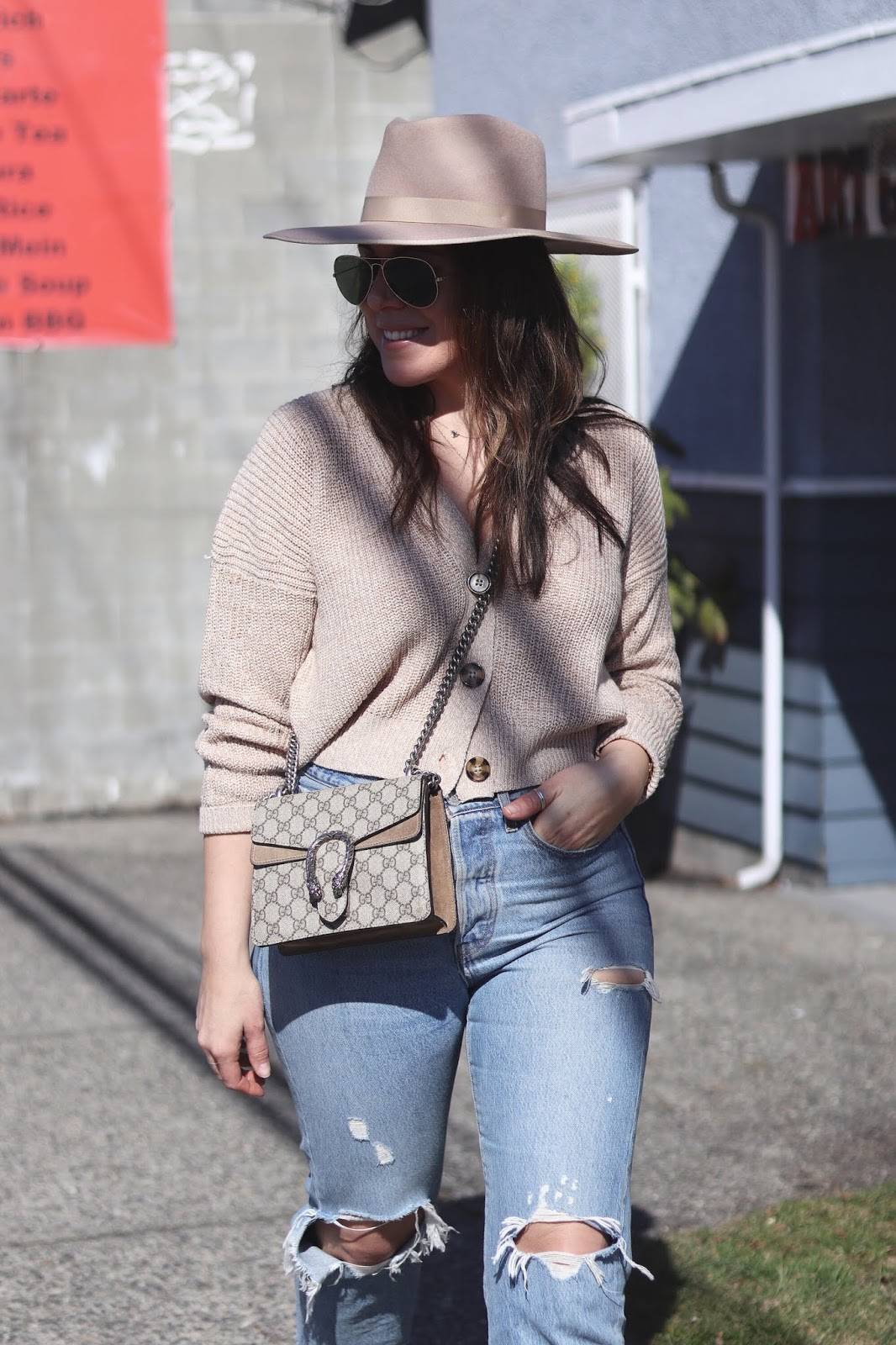 button front sweater lack of color rancher hat levis wedgie jeans vancouver fashion blogger