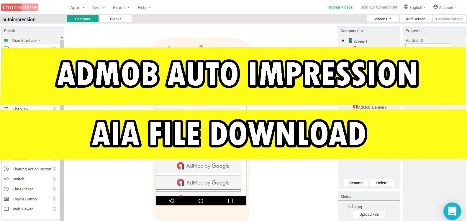 FREE BLOGGER TRICKS: AdMob Auto Impression AIA File Download