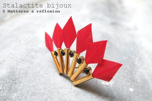 Boucle plumes rouges Stalactite bijoux