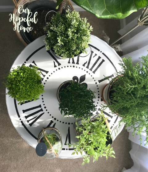 plants topiary cloche clock table