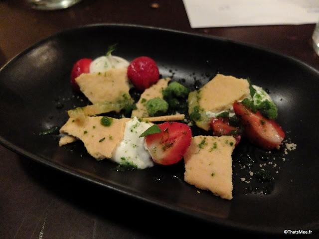 resto bistronomique menu 7 plats le galopin Paris 10eme romain tischenko top chef, dessert ricotta et fraise